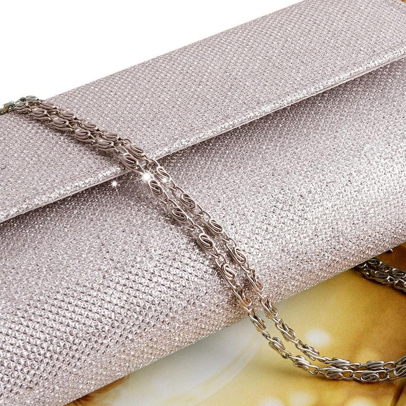 Fashion Women Evening Shoulder Bag Bridal Clutch Shining Sequins Silk Bottom Elegant Prom Party Wedding Envelope Lady Long Bag 5
