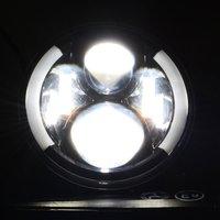 7 Pouces Ronde LED Conduite Phares De Lumière Insérer avec DRL Direction Anneau Angle Yeux pour Jeep Wrangler JK TJ LJ 1997-2015