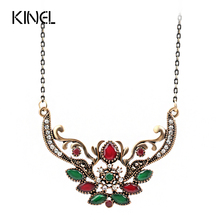 Vintage Jewelry Fashion Indian Turquoise Pendant Necklace For Women Plating Ancient Gold Choker Bohemia Necklace