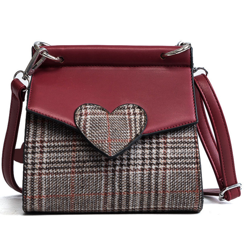 Messenger bag female 2018 new check woolen bag Peach heart hit color double shoulder bag packet смартфон lg k7 2017 brown x230