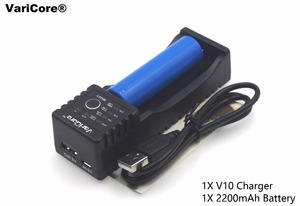 1xVaricore V10 1.2V 3V 3.7V 4.25V 18650/26650/18350/16340/18500/AA AAA nimh lithium ion battery charger+1x18650 2200 mAh battery