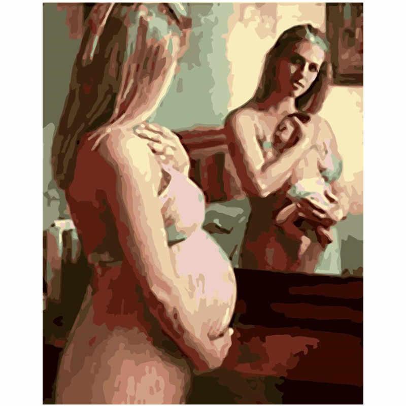 Картина по номерам DIY дропшиппинг 40x50 50x65 см Красивая беременная мама фигура холст свадебное украшение художественная картина подарок