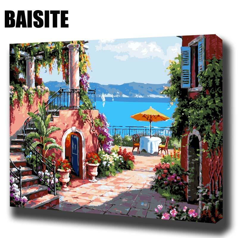 BAISITE DIY Encadrée Peinture À L'huile Par Numéros Paysage Photos Toile Peinture Pour Le Salon Mur Art Home Decor E574