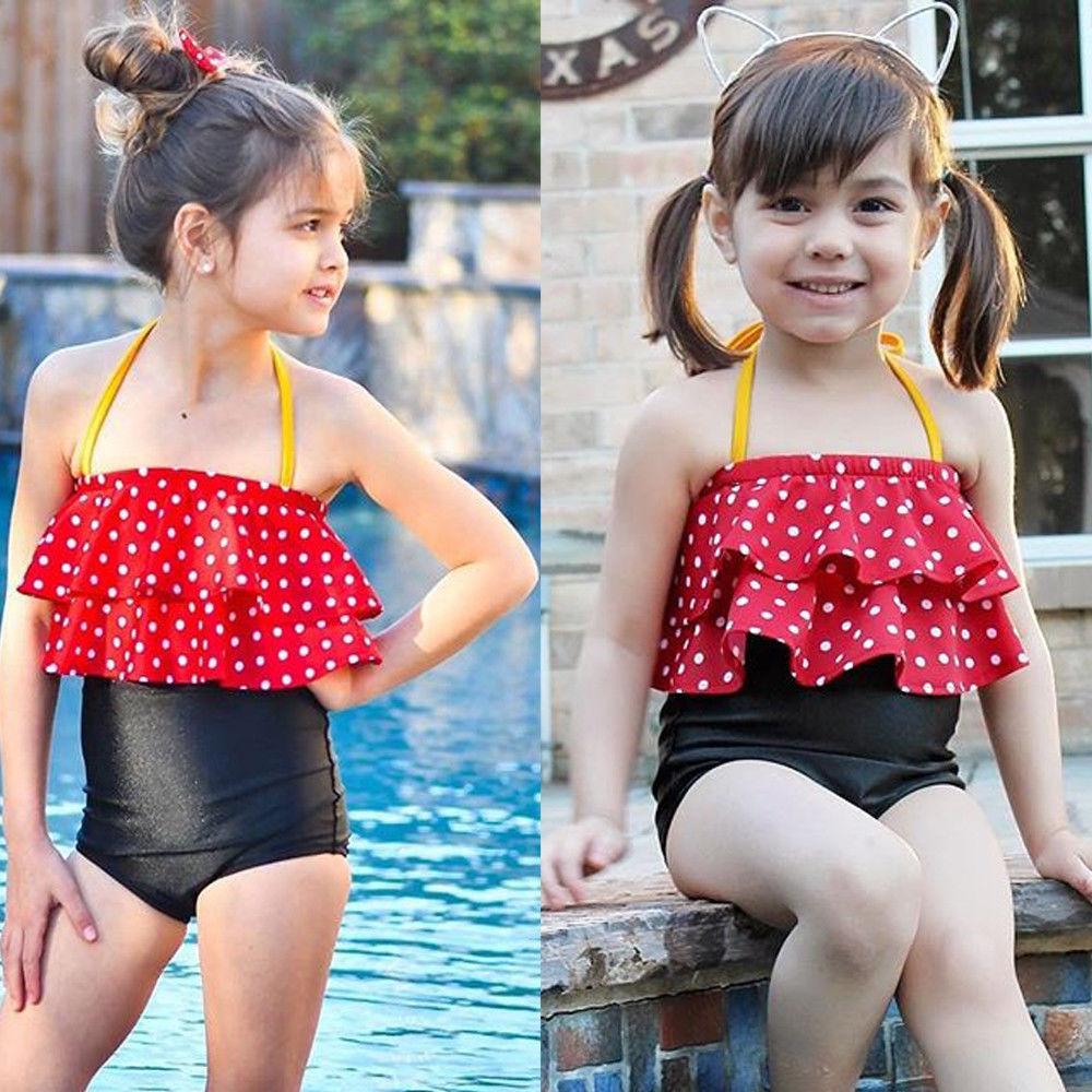 Toddler Kids Baby Girl Polka Tankini Bikini Swimwear Swimsuit Bathing Beach
