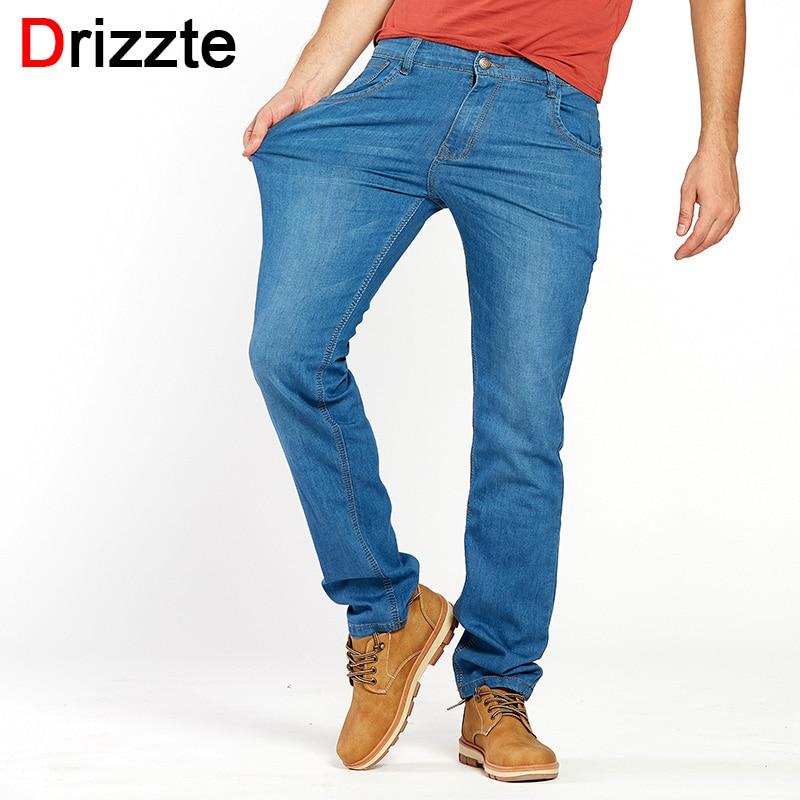Drizzte Lightweight Stretch Jeans Mens Denim Summer light Blue Jeans Black Blue Jean Fashion 28-35-42 for Mens