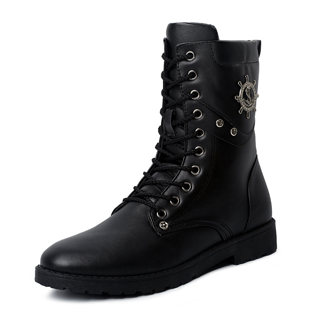 136d1a42870 New 2016 Spring Fall High Platform Men s Shoes Casual Fashion Rubber Sole  Motorcycle Boots Men Military