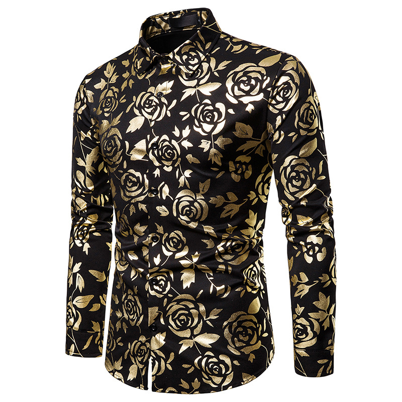 2019 Men Autumn Bronzing Flower Golden Rose Printed Long Sleeve Dress Shirt Wedding Party Slim Stage Performance Singer Shirts(China)
