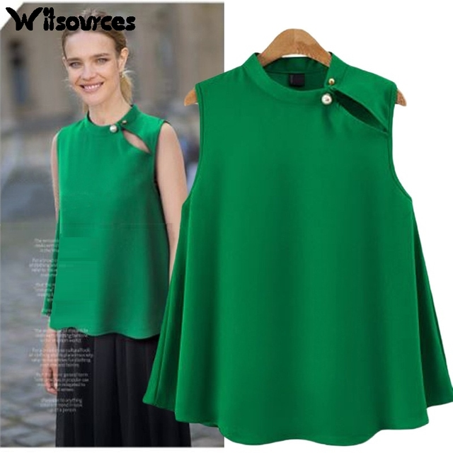d62a415aa36 Witsources women plus size summer chiffon sleeveless blouses shirts  oversized casual blouse shirt SD4102