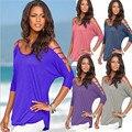 Pinkqueen Camisa Coreano Moda Mulheres Sling Ombro T-shirt Off Rosa Manga Três Quartos Tops Ladies Beach Wear Plus Size
