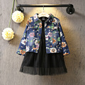 2016 new spring autumn Girls Kids Floral cotton denim jacket coat  comfortable cute baby Clothes Children Clothing  10W