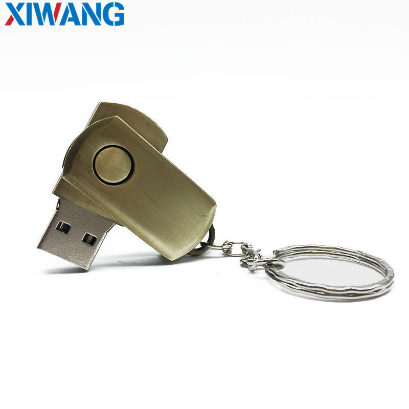 hot Metal Rotary 2 0 Keychain Memory Card 4GB 8GB 16GB 32GB 64GB thumb shape flash drive can be customized LOGO Free Shipping in USB Flash Drives from Computer Office