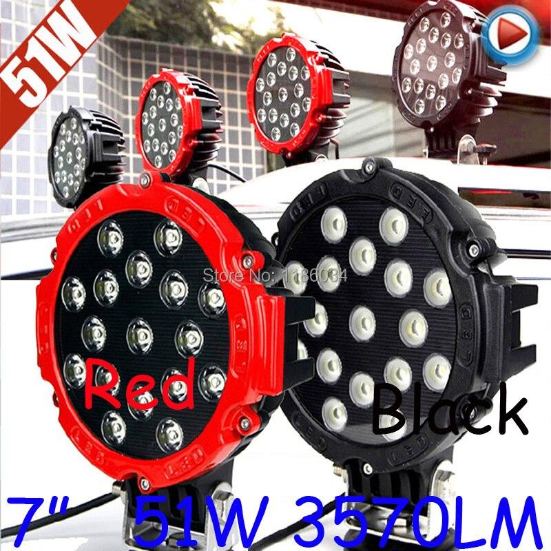 Free ship!7 51W 10~30V LED working light,1pcs/set,Black/Red,3570LM,6500K,Bulldozer,Crane,4x4 SUV ATV,Motorcycle light термокружка ruges веда k 30 red