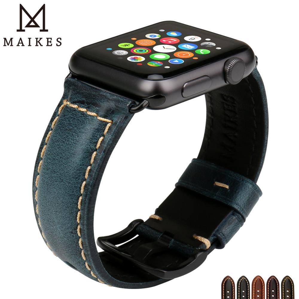 MAIKES Vintage Oil Wax Leather Watch Strap Watchband For Apple Watch Band 44mm 40mm 42mm 38mm Series 4/3/2/1 IWatch Bracelet