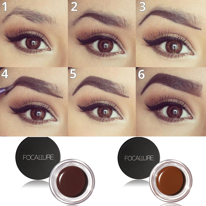 FOCALLURE Cheap Price Professional Eye Brow Waterproof Brow Cream Black Brown 5 Color Eyebrow Gel With Brow Brush Makeup Tool