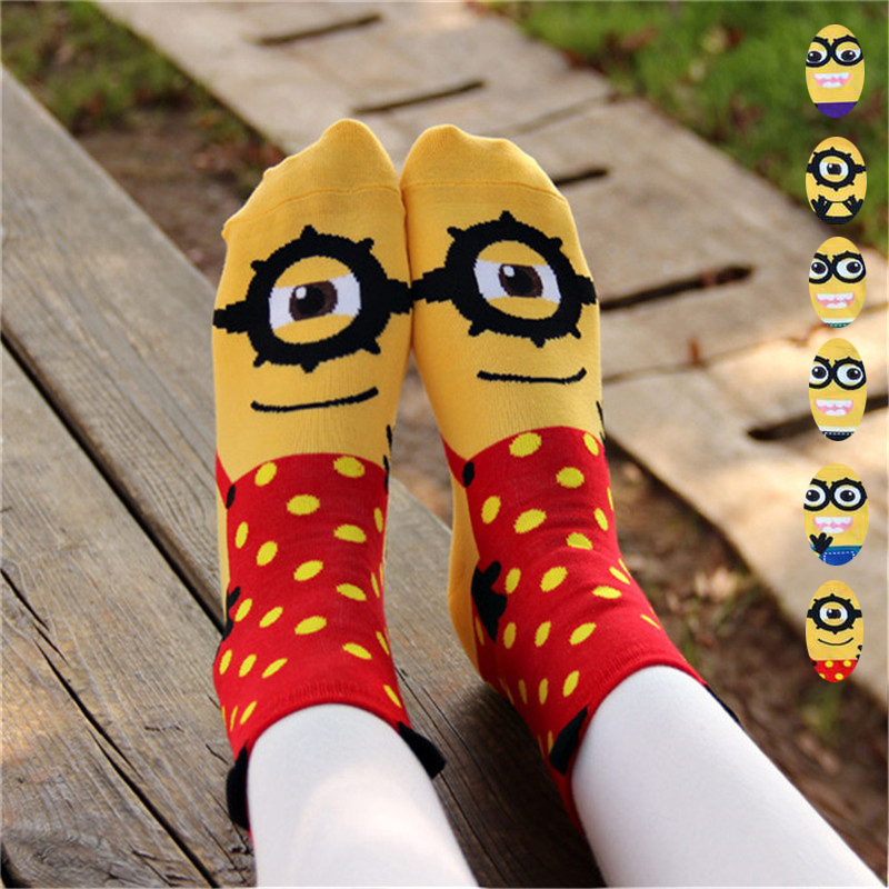 Hot sale! women cartoon   socks   autumn-winter colorful cotton cute little minions cartoon lady and women's funny   socks