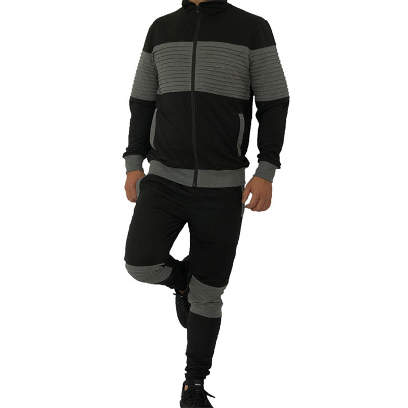 Осень 2 шт. Куртка + брюки мужской спортивный костюм свободного покроя пэчворк спортивная одежда