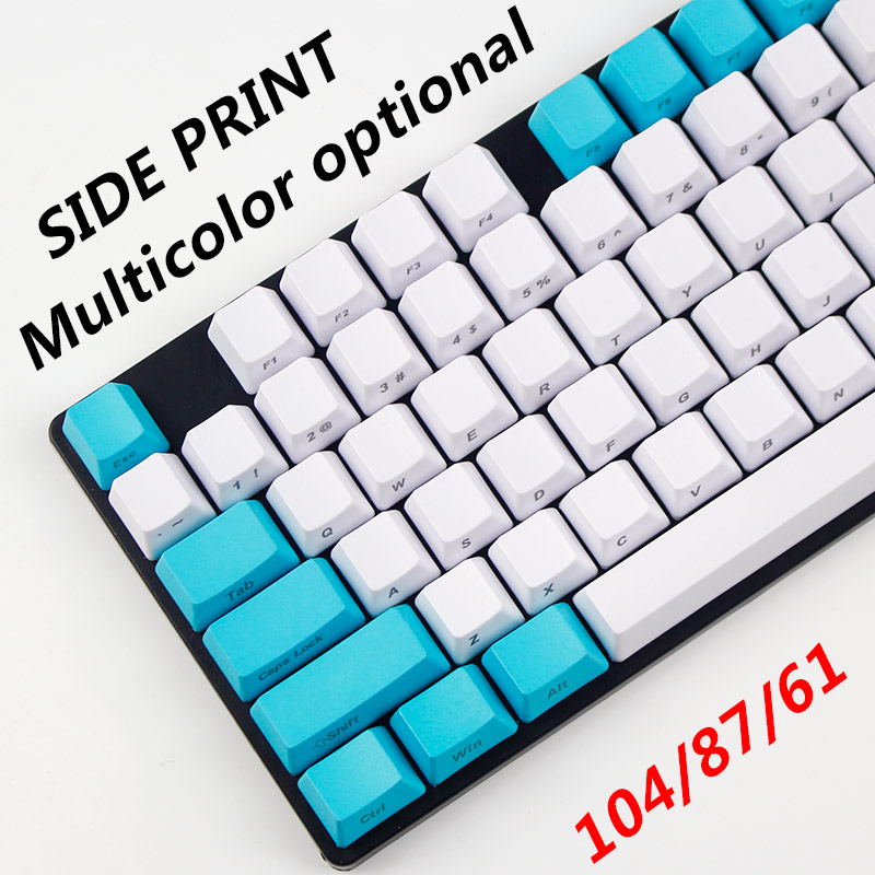 Free shipping side printed keycaps tiffany OEM profile for mechanical keycaps filco87 104