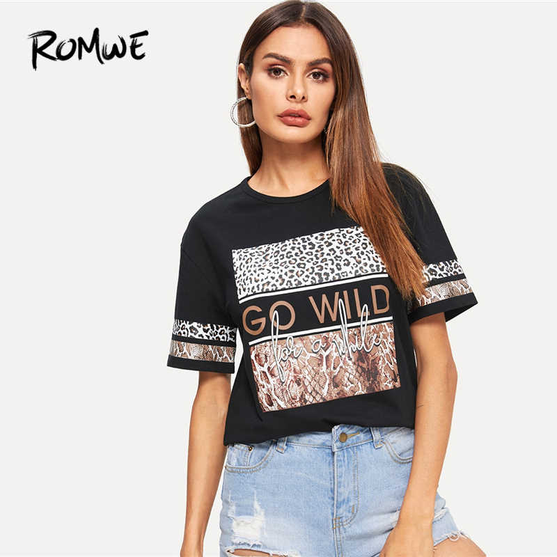 c06cf8d48f ROMWE Letter Mixed Animal Print Tee 2019 Comfort Summer Stretch Short  Sleeve Female Tops Swish Women
