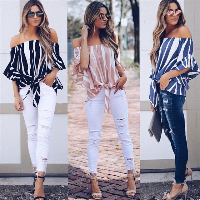 96ab58f5ebd Womens Kinomo Striped Off Shoulder T Shirt Flare Sleeve Ladies Oversize Bardot  Top Size S-XL