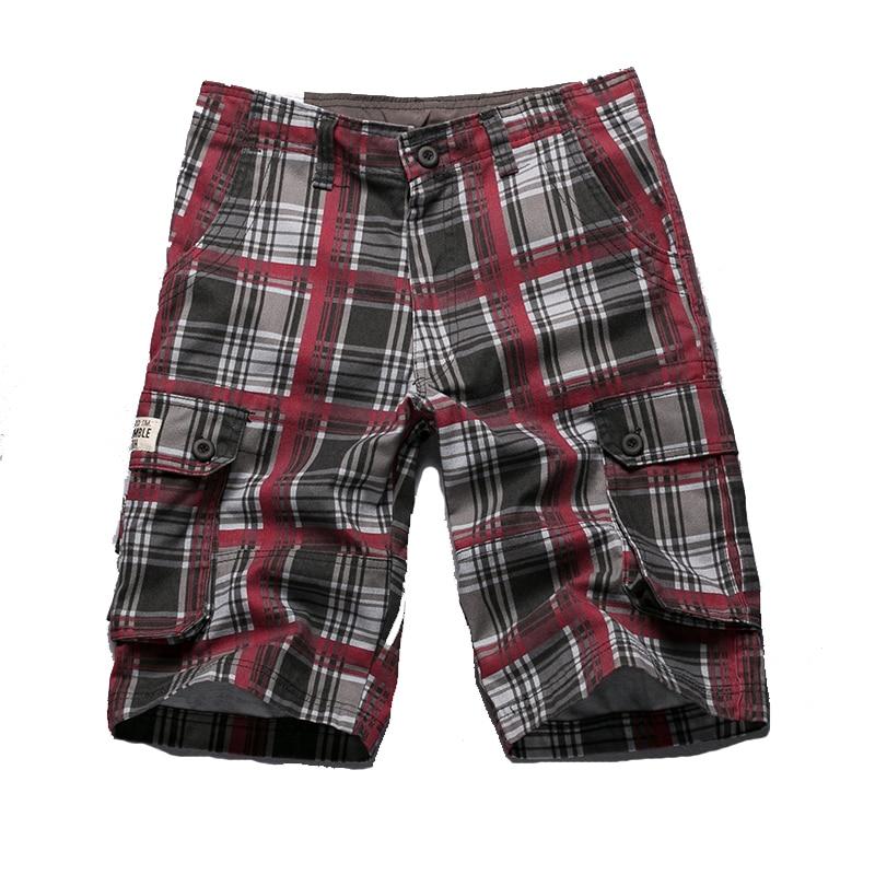 2018 Summer 100% Cotton Plaid Casual Shorts Men High Quality Cargo Men Shorts Beach Male Shorts High Quality Plus Size 36 38