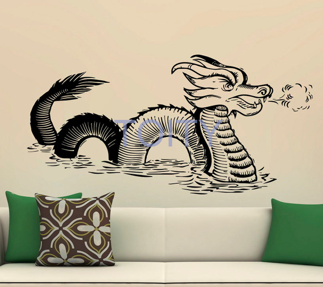 Chinese Dragon Wall Decal Gothic Style Fantasy Vinyl Stickers Home ...