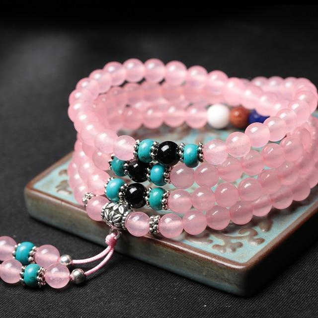 High Quantity Natural Stone Bracelet 108 Mala Yoga Necklace Different Color Chalcedony Amulet Bracelet Decoration