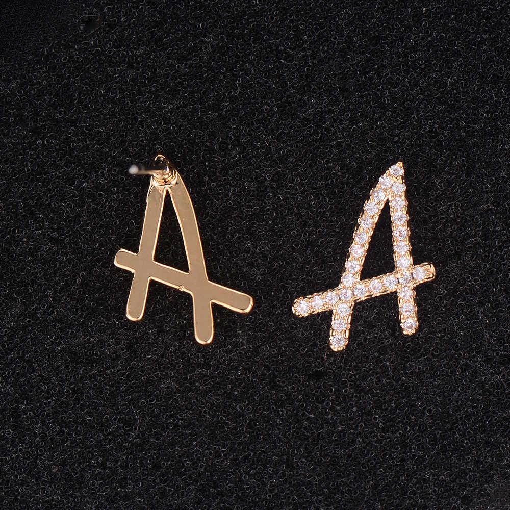Dễ thương Bạc Hoặc Lá Thư Màu Vàng Đầy Đủ CZ Stud Earrings Đối Với Phụ Nữ Cô Gái