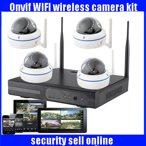 CCTV 4CH Wireless 720P Surveillance NVR System Kit with 4 Indoor Day/Night 1.0MP IP Cameras Video Push 3G Wifi P2P Onvif