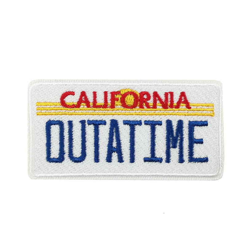 3 Back to the Future California Outatime Embroidered iron on Patch Logo Time Machine Delorean Flux