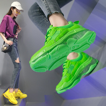 2019 Crystel Womens Chunky Sneakers  Summer Breathable Mesh Casual Outdoor Sports Shoes Fluorescent Green Lace Dad