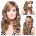 Hot Sell European and American Women  Full Lace Wigs Long Wavy Light Brown Synthetic Hair Highlight Hairpiece For White Femal