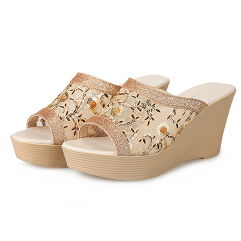 Summer Popular small flower Women Sandals Wedges Med thick Heels Shoes Woman gold Women Shoes 2017 New Style Sandalias Mujer phyanic 2017 gladiator sandals gold silver shoes woman summer platform wedges glitters creepers casual women shoes phy3323