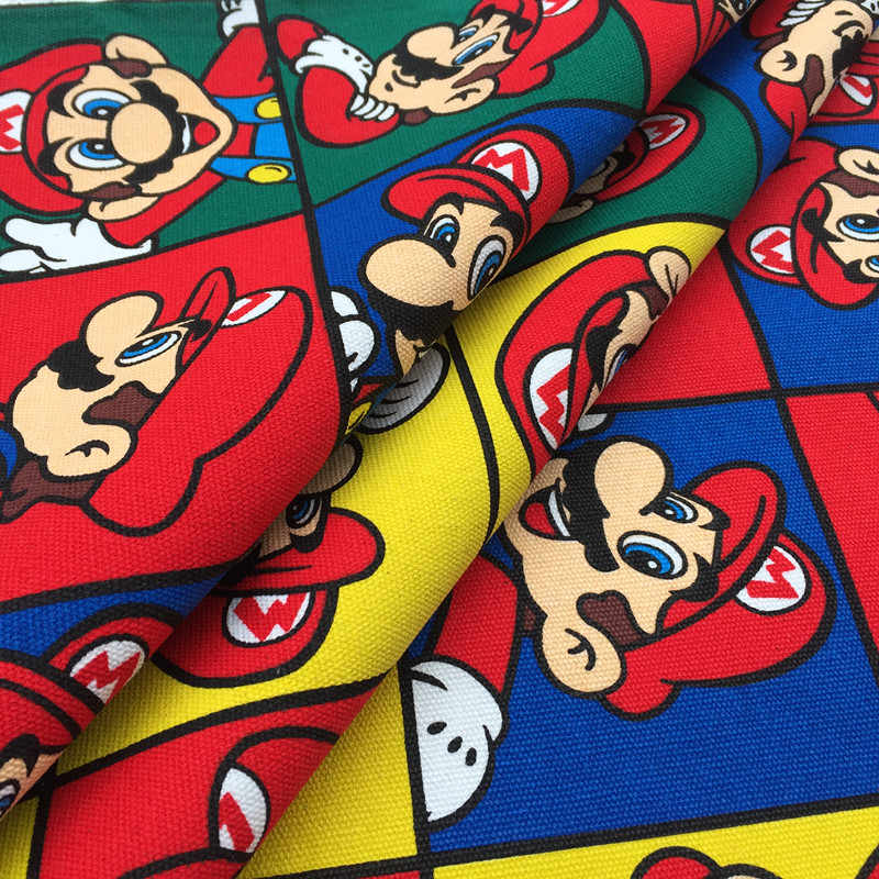 Thick Red Mario Canvas Fabric for Sofa Cartoon  Super Mario Hero Print Canvas Cotton Fabric Bag Sewing Patchwork DIY Table Cloth