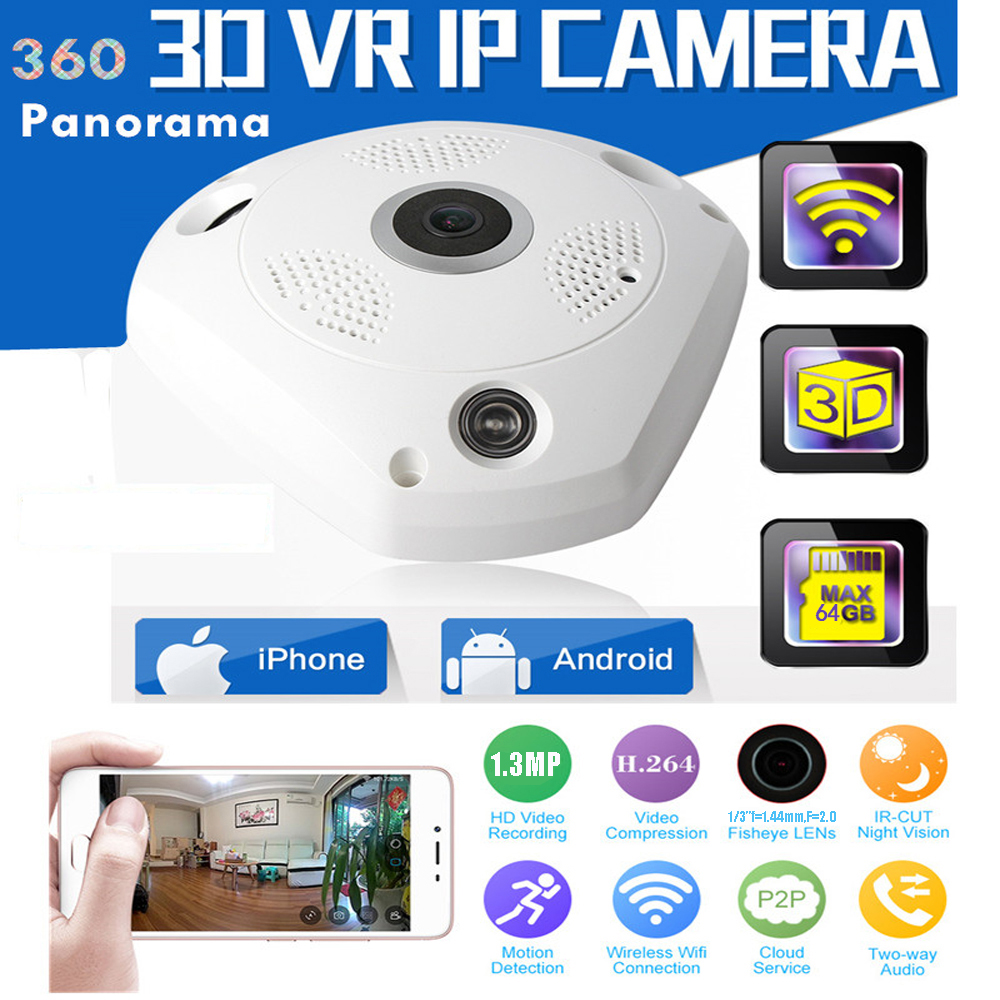 1 PCS Wireless WIFI Panoramic Camera 1.3MP 360 Degree Fisheye IP Network CCTV Security Video Storage Remote IR-CUT Two Way Audio wifi ip camera 360 degree full fisheye view 720p wifi network home security wireless camera