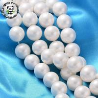 Polished Shell Pearl Round Beads Strands, Nice for Mother's Day Necklace Making, Grade A, Dyed, White, 16mm, Hole: 0.8mm; about