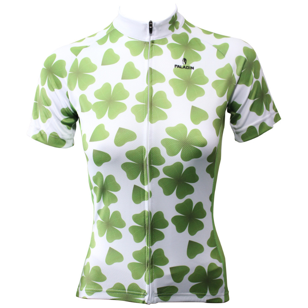 Nové poštovné zdarma Lucky Clover Women Cyklistický dres s krátkým rukávem Polyester Ciclismo Ropa Green Prodyšné Cyklistické oblečení