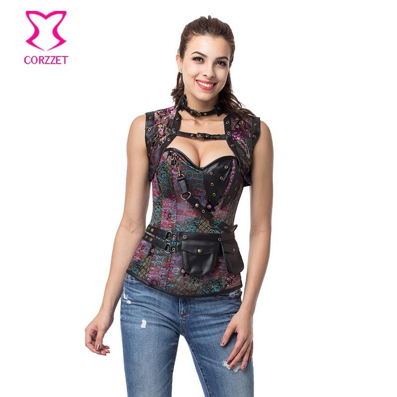 Steampunk sexy cuir violet utilitaire ceinture veste corset grande taille 6xl gothique vêtements gothique gotico burlesque corsets bustie