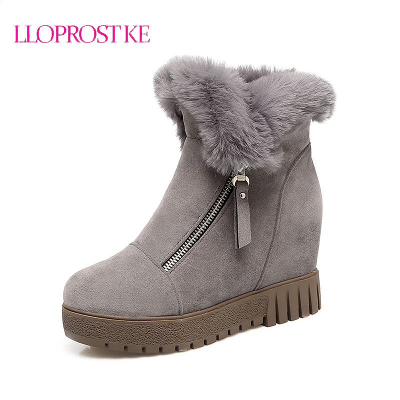 LLOPROST KE Fashion Shoes Women Ankle Boots Winter Warm Fur Snow Boots Wedge Heel Round Toe Platform Boots Size 34-43 LYZ053 smile circle winter shoes for women wedge sneakers wool fur shoes women fashion round top warm platform shoes tenis feminino