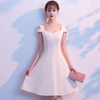 White Dresses Cocktail Short Off The Shoulder Women Vestido De Noche Elegante Sexy Formal Party Pleated Gown Abendkleider