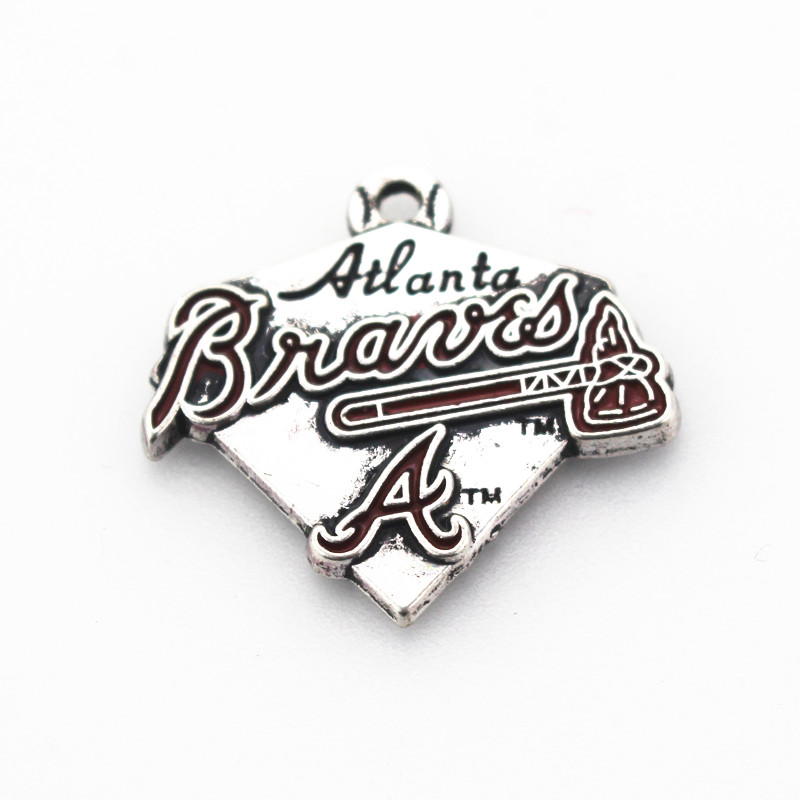 12pcs Silver Sports Pendant Atlanta Braves Baseball Team Enamel Dangle Charms For Bracelet Necklace Floating Charms Jewelry