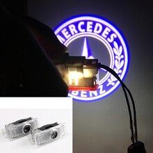 2 шт 3D стайлинга автомобилей светодиодный свет двери для Mercedes Benz C207 CLA CLS E класс логотип автомобиля Призрак лампы проектора