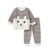 MrY Spring New Children's Pajamas Set Long sleeve Stripe Design Cotton Clothes Sleepwear Set new dew shoulder design clothes the horn sleeve beautiful stripe girls blouses