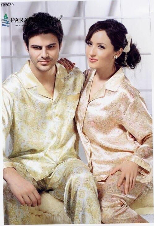 Mens Pajamas 100% NWT Pure Silk Pajamas Top Bottom Set For Couples Men's Size L XL XXL