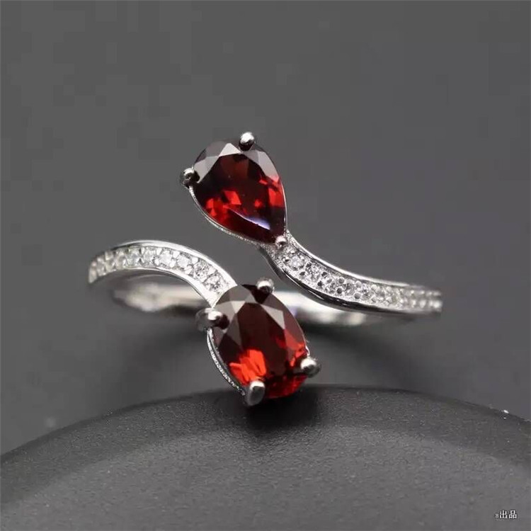 Live 925 Silver Ring garnet jewelry inlaid jewelry free shipping