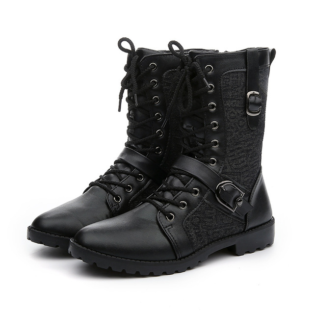 Fashion 2016 Winter Men Motorcycle Boots Faux Leather Lace Up Men Riding Boots Causal Ladies Work Safety Boots Shoes