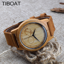 TIBOAT Genuine Leather Anchors Design Bamboo Wood Watches Japan Quartz Wood Bamboo Wristwatches Men Women Luxulry Watches