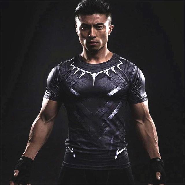 a61666b8918 Marvel Super Hero Cosplay Black Panther T-shirt Sports T Shirt 3D Print T-shirt  Men s GYM MMA Fitness Training Run Short Sleeves