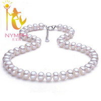 NYMPH Brand Natural Pearl Chokers Necklace 10 11 Big Size White Pearl Necklace For Women F002