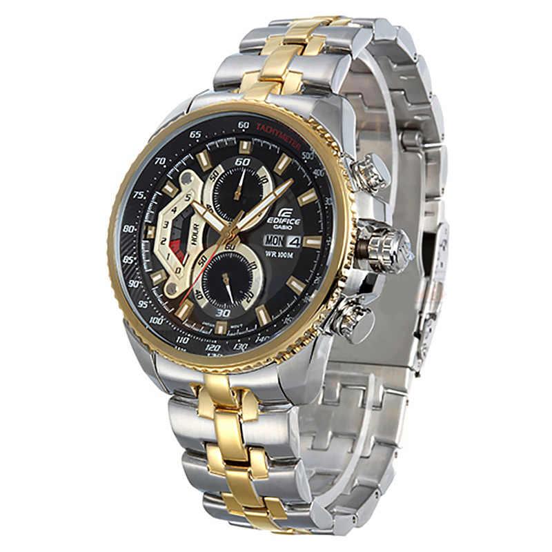 Casio reloj de hombre de tres ojos de 100 metros impermeable de carreras de Deportes de tabla de acero cinturón de hombre reloj de acero placa blanca correa de acero EF-558