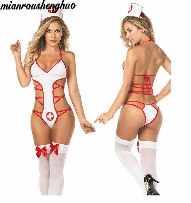 Lingerie women's nurse role plays sexy backless temptation conjoined nurse suit #5073